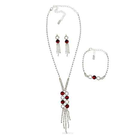Купить Комплект бижутерии (колье, серьги, браслет) Avgad, цвет: серебристый, красный. H-477S875