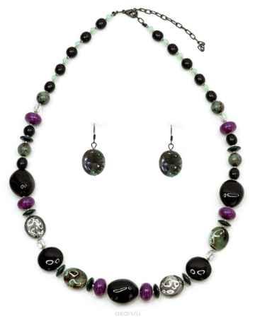Купить Бусы,серьги Bohemia Style, цвет: черный, фиолетовый, изумрудный с крапом. 1218 9487 01
