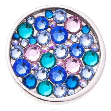 Купить Накладка на кольцо-основу Jenavi Коллекция Ротор Сцрев, цвет: серебряный, голубой. k193fr40. Размер 2