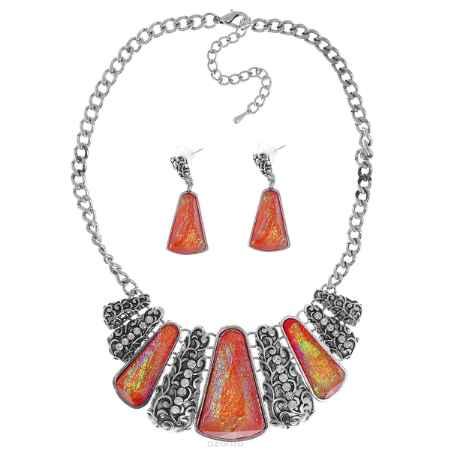 Купить Комплект украшений Taya: колье, серьги, цвет: мультиколор, красный. T-B-9270