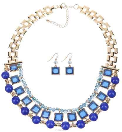 Купить Комплект украшений Avgad: колье, серьги, цвет: золотистый, синий. FS0793GDBLU
