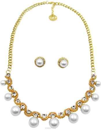 Купить Комплект украшений Taya: серьги, колье, цвет: золотистый, белый. T-B-10251