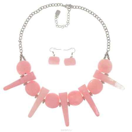 Купить Комплект Avgad: колье, серьги, цвет: серебристый, розовый. H-477S864