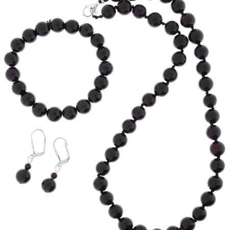 Купить Комплект украшений Migura: бусы, браслет, серьги, цвет: темно-коричневый. SU0361