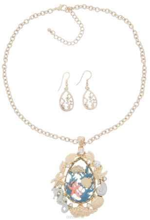 Купить Комплект украшений Avgad: колье, серьги, цвет: золотистый, серебристый. H-477S1030