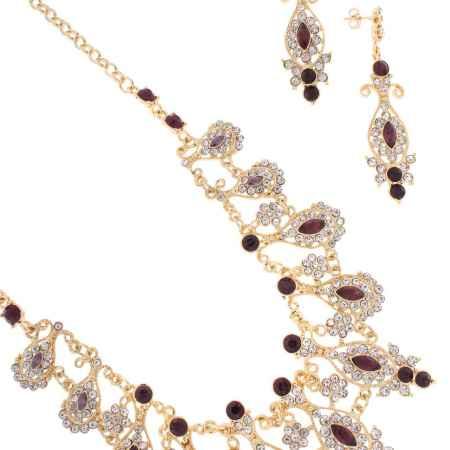 Купить Комплект украшений Happy Garnets: колье, серьги, цвет: золотой, фиолетовый. SN0105