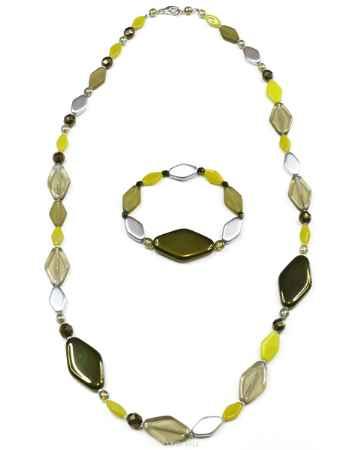 Купить Комплект украшений Bohemia Style: бусы, браслет, цвет: зеленый, серебряный, салатовый, коричневый. 1258 9870 50