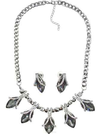 Купить Комплект украшений Taya: серьги, колье, цвет: серебристый, серый. T-B-10