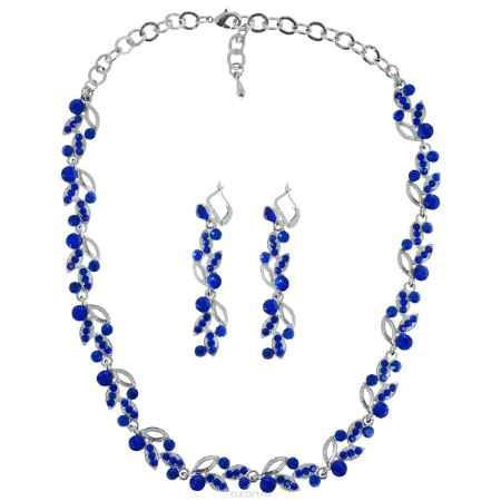 Купить Набор Taya: колье, серьги, цвет: серебристый, темно-синий. T-B-9542
