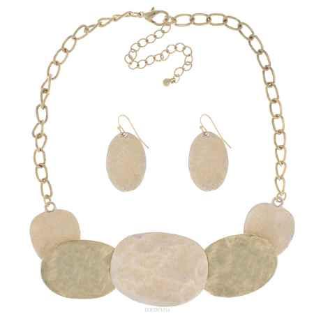 Купить Комплект украшений Taya: колье, серьги, цвет: золотистый, бежевый. T-B-5120
