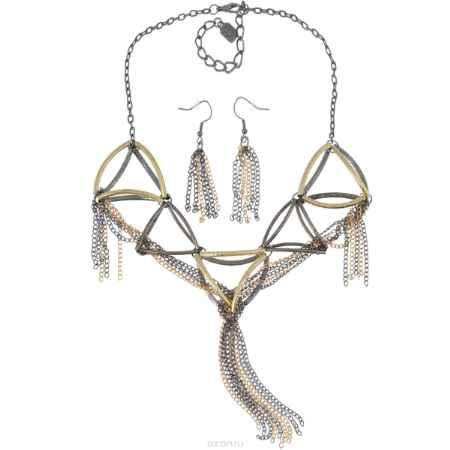 Купить Комплект бижутерии Avgad: колье, серьги, цвет: золотистый, антрацитовый. H-477S846
