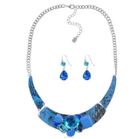 Купить Комплект Avgad: колье, серьги, цвет: серебристый, синий. H-477S851