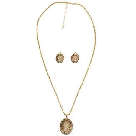 Купить Комплект украшений Happy Garnets: кулон на цепочке, серьги, цвет: золотой, бежевый. NO0752