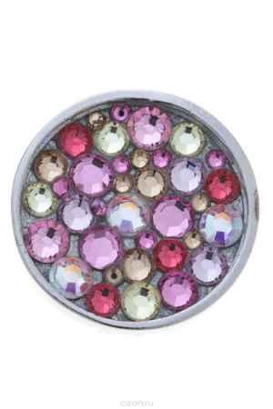 Купить Накладка на кольцо-основу Jenavi Коллекция Ротор Сцрев, цвет: серебряный, розовый. k193fr10. Размер 2