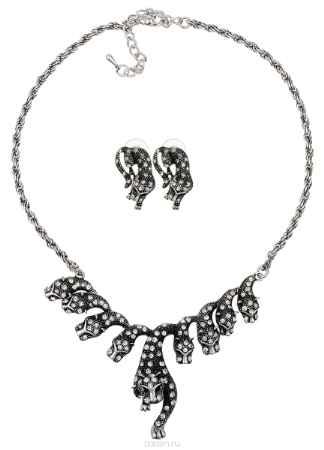 Купить Комплект украшений Taya: колье, серьги, цвет: серебристый. T-B-10209