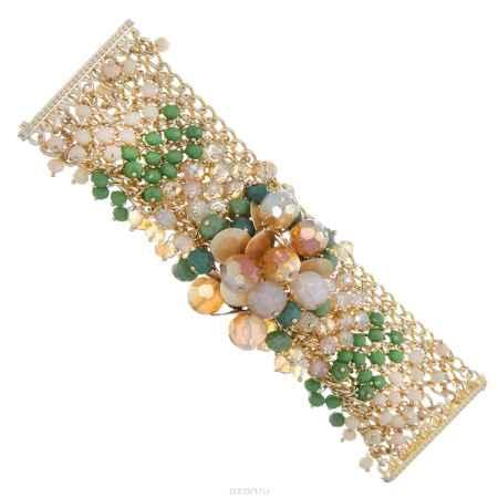 Купить Браслет Taya, цвет: золотой, зеленый, бежевый. T-B-8216-BRAC-MULTI