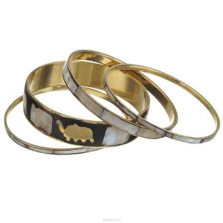 Купить Набор браслетов Ethnica, цвет: светло-серый, черный, золотой, 4 шт. 100045