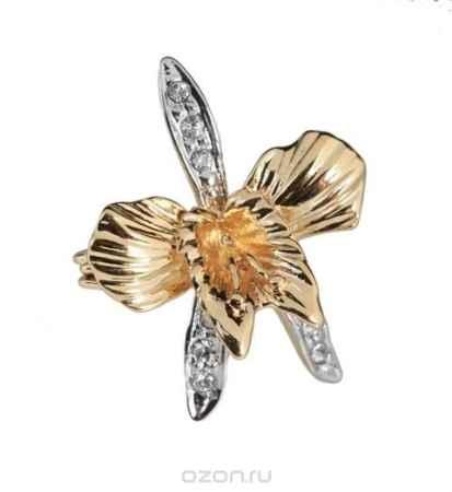 Купить Брошь Jenavi Коллекция Королева ночи Орхидея, цвет: золотой, белый. a421q600. Размер 2,3x3