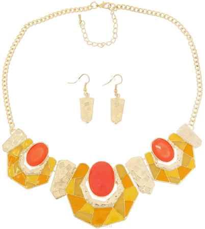 Купить Комплект украшений Avgad: колье, серьги, цвет: золотистый, оранжевый, желтый. H-477S1012