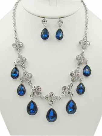Купить Набор бижутерии Taya, цвет: серебристый, темно синий. T-B-10368