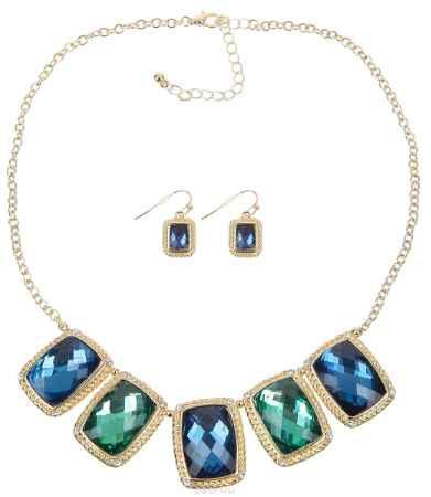 Купить Комплект украшений Avgad: колье, серьги, цвет: золотистый, синий, зеленый. PS0203DBMT