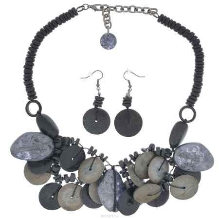 Купить Комплект бижутерии Avgad: колье, серьги, цвет: темно-серый. H-477S815