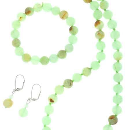 Купить Комплект украшений Migura: бусы, браслет, серьги, цвет: светло-зеленый, светло-коричневый. SU0369