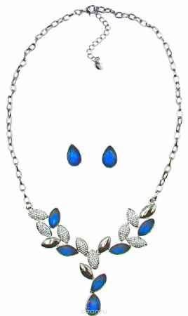 Купить Комплект украшений Taya: серьги, колье, цвет: серебристый, темно-синий. T-B-1038