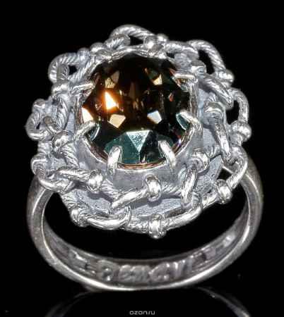 Купить Кольцо Jenavi Коллекция Форсаж Эланта, цвет: серебряный, зеленый. h0453031. Размер 19