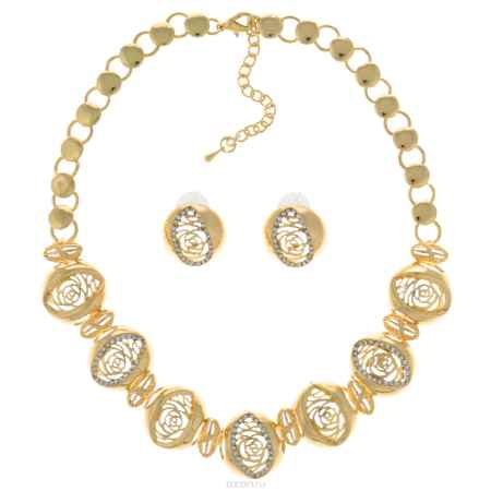 Купить Комплект украшений Taya: колье, серьги, цвет: золотистый. T-B-10224