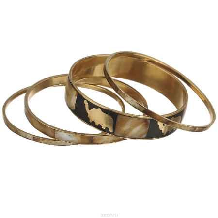 Купить Набор браслетов Ethnica, цвет: коричнево-зеленый, черный, золотой, 4 шт. 100045
