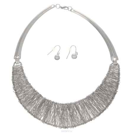 Купить Набор бижутерии Taya: колье, серьги, цвет: серебристый. T-B-5843-SET-RHODIUM