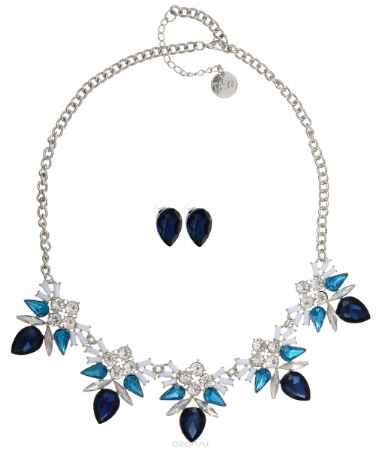 Купить Комплект украшений Taya: колье, серьги, цвет: белый, синий, голубой. T-B-10176