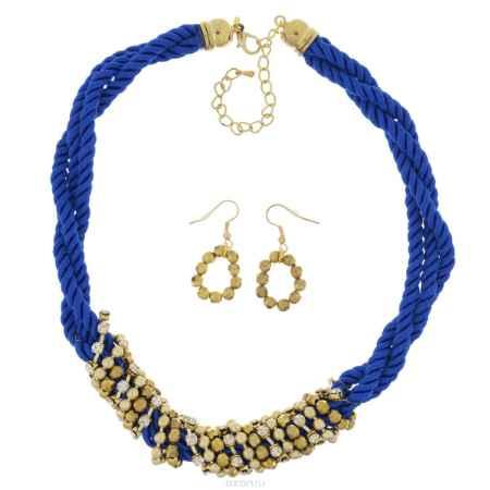 Купить Комплект Avgad: колье, серьги, цвет: золотистый, синий. H-477S804