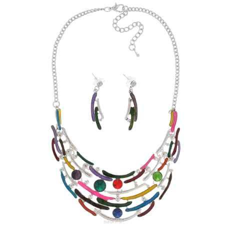 Купить Комплект украшений Taya: колье, серьги, цвет: мультиколор, серебристый. T-B-9279