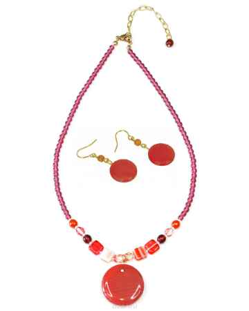 Купить Комплект бижутерии Bohemia Style: бусы, серьги, цвет: коралловый. BW1248 7973 00