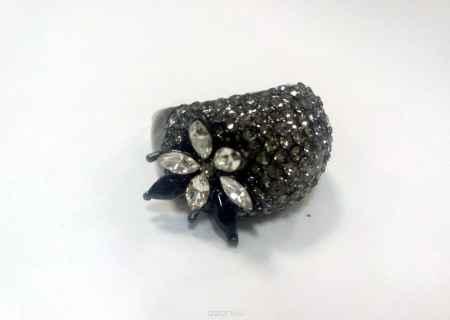 Купить Кольцо Fashion House Орнела, цвет: серый, темное серебро. Размер 17